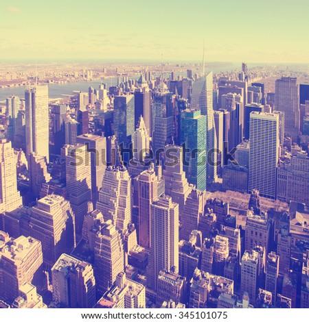 Vintage image of New York City Manhattan skyline.  - stock photo