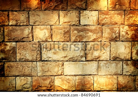 vintage image of old style aged cracked stone wall - stock photo