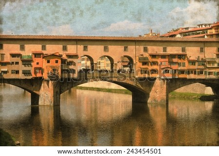 Vintage image of Ponte Vecchio in Florence, Italy - stock photo