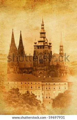 vintage image of St.Vitus Cathedral in Prague, Czech Republic - stock photo