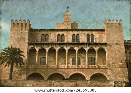 Vintage image of the Almudaina Palace in Palma de Mallorca, Spain - stock photo