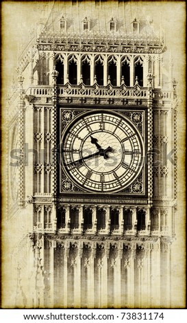 Vintage  image of the Big Ben tower in London - stock photo