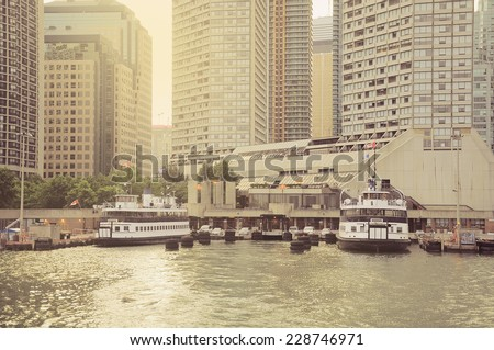 Vintage image of the ferry berth on Ontario lake. Toronto city. Canada. - stock photo