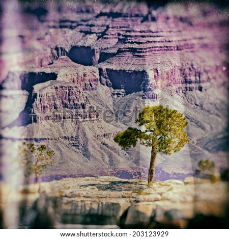 Vintage image of the Grand Canyon, Arizona, USA. The Grand Canyon is a steep-sided canyon carved by the Colorado River in the United States in the state of Arizona. - stock photo