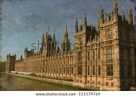 Vintage image of the Houses of Parliament in London, UK - stock photo