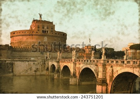 Vintage image of the Saint Angel Castle and the Angels bridge in Rome, Italy - stock photo