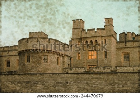 Vintage image of the Stone fortress of the Tower of London, UK - stock photo