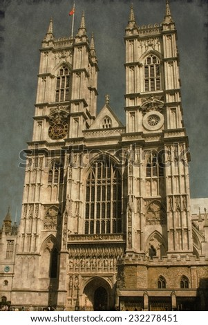 Vintage image of the Westminster Abbey in London, UK - stock photo