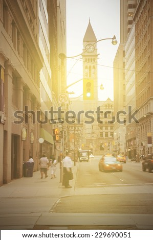 Vintage image of Toronto city center at sunrise time. Canada. - stock photo