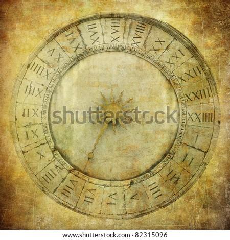 Vintage image of Venetian clock - stock photo