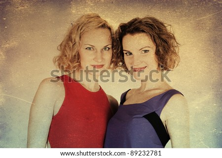 vintage image with two beauty young women, retro texture