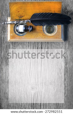 vintage ink writing set with fountain pen and ink bottle - stock photo