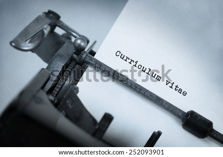 Vintage inscription made by old typewriter, Curriculum vitae - stock photo