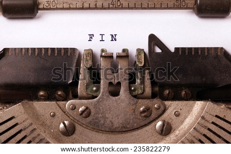 Vintage inscription made by old typewriter, FIN - stock photo