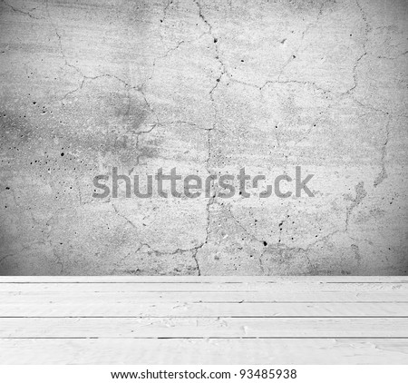 Vintage interior of old stone wall and wooden floor - stock photo