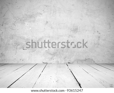 Vintage interior of stone wall and wooden floor - stock photo