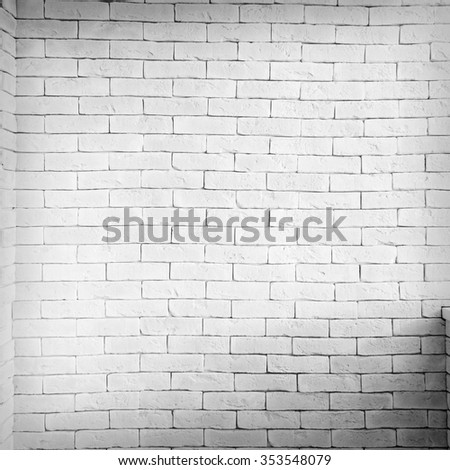 Vintage interior of white brick wall and old wooden floor - stock photo