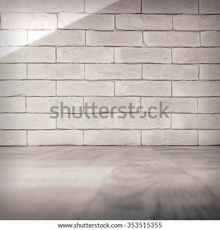 Vintage interior of white brick wall and old wooden floor. Toned image - stock photo