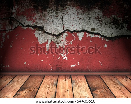 vintage interior with bright red cracked wall - stock photo