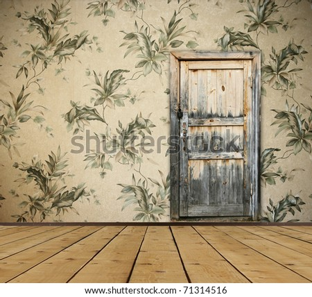 vintage interior with door - stock photo