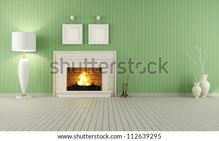Vintage interior with green wallpaper and classic fireplace - stock photo