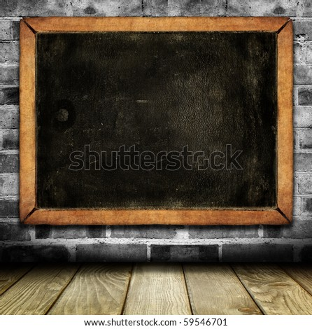 Vintage interior with school blackboard - stock photo