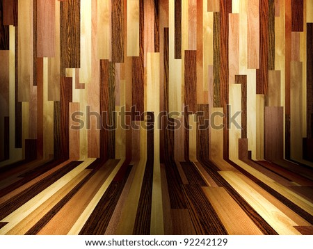 Vintage Interior with Wood Paneled Wall and Wood Floor - stock photo