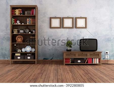 Vintage interior with wooden  bookcase and old television -3D Rendering - stock photo