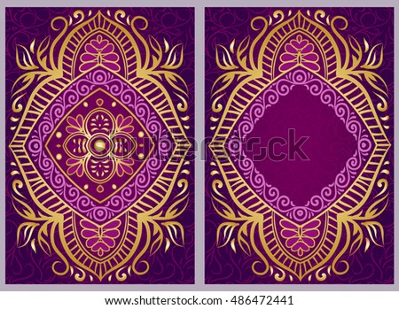 vintage invitation cards with floral mandala pattern and ornaments flayer oriental design front page