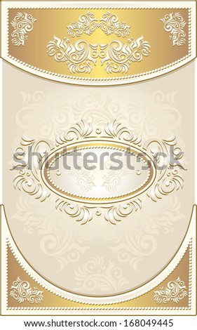 Vintage Invitation or Wedding frame or Congratulation or label with Floral background in light gold color - stock photo