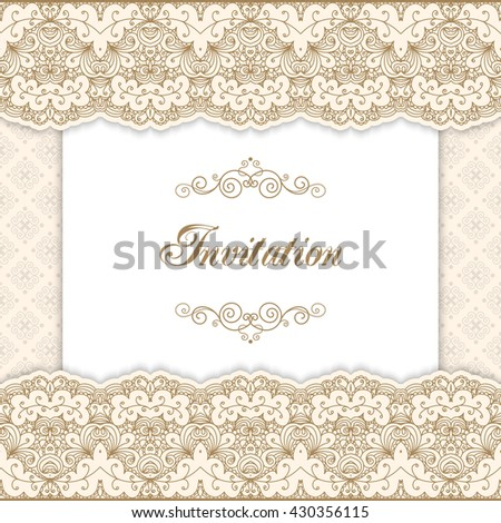 Vintage Invitation Template Lacy Borders Vector Stock Vector