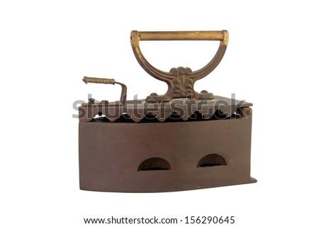 Vintage iron isolated on white background - stock photo