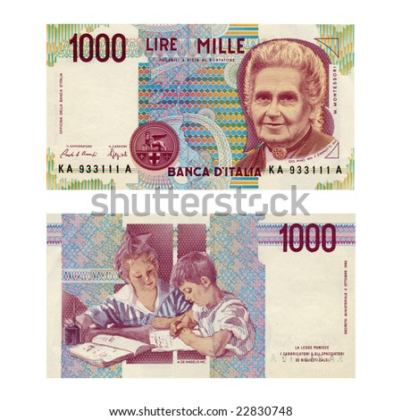 Vintage italian banknotes (NOTE: old currency no more in use since the introduction of Euro in 2002)