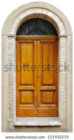 vintage italian door of small village isolated on white background.