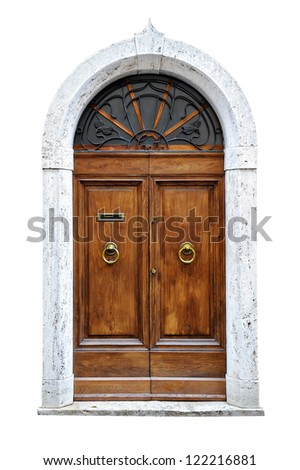 vintage italian door of small village isolated on white background. - stock photo