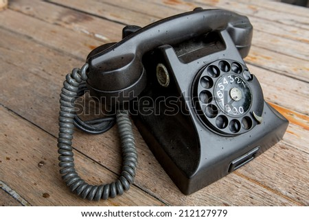 Vintage Japanese rotary dial telephone - stock photo