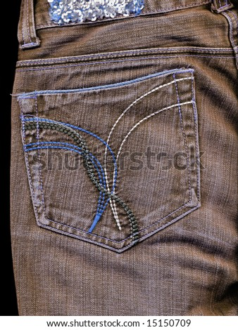 Vintage jean pocket with pattern to background