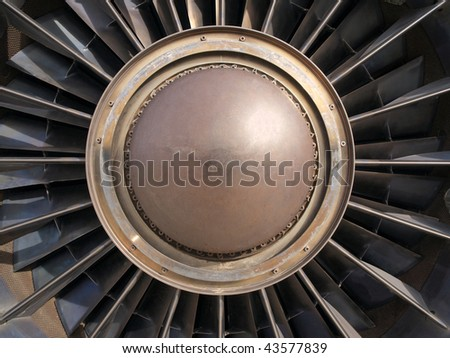 Vintage jet engine turbine.  Detail of rotor and blades.