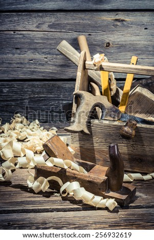 Vintage joinery tool box - stock photo