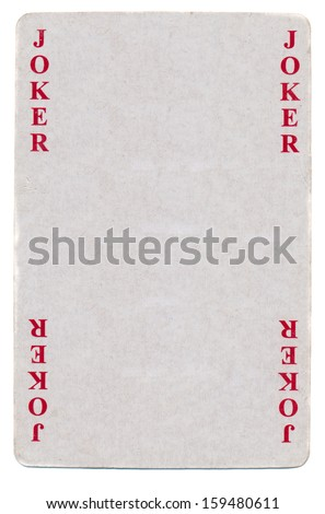 vintage joker playing card paper background isolated on white - stock photo