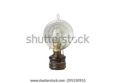 vintage kerosene lamp on isolate background - stock photo