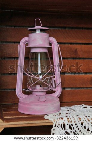 vintage kerosene oil lantern lamp with lace  	
