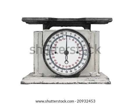 vintage kitchen scales isolated over white background - stock photo
