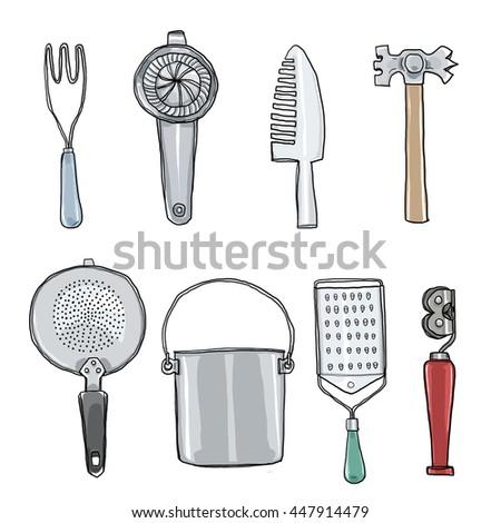 Vintage Kitchen Utensils Illustration vector wooden kitchen utensils set hand stock vector 449455723