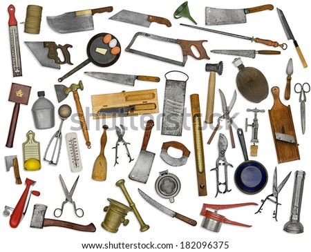 vintage kitchen utensils collage over white background - stock photo