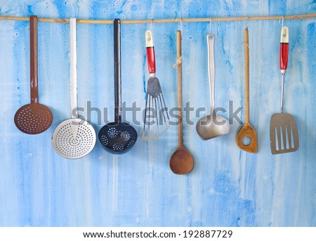 vintage kitchen utensils, cooking concept,free copy space - stock photo