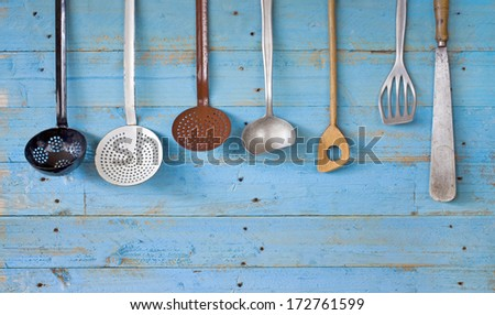 vintage kitchen utensils, free copy space - stock photo