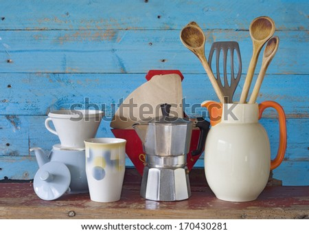 vintage kitchenware and dishes, free copy space - stock photo