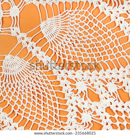 vintage knitting craftsmanship - pineapple ornament lace by crochet close up - stock photo