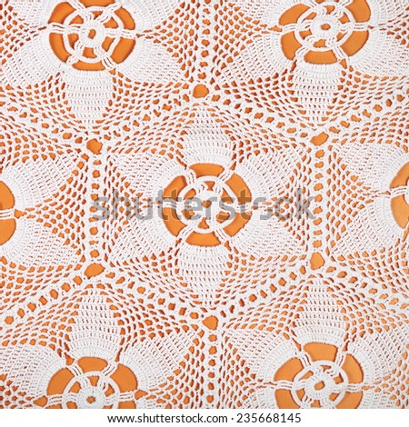 vintage knitting craftsmanship - star pattern lace by crochet close up - stock photo